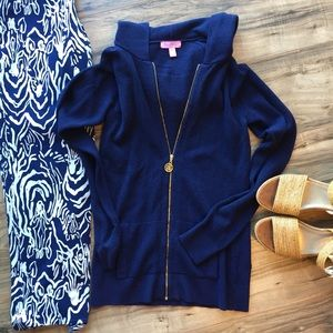 Lilly Pulitzer Josephine Navy Zip Up hoodie
